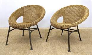 Pr Circle Hoop Woven Rattan Lounge Chairs. Rolled curve