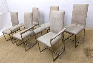 Set 6 Modernist Dining Chairs. Metal frames. 4 Side Cha