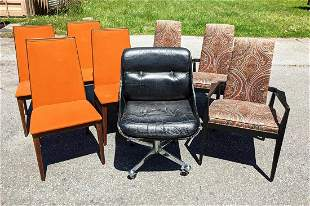 Mid Century Modern Seating Lot. Chairs and Office Chair