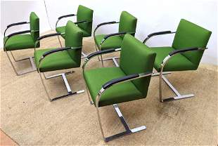Set 6 BRNO style Cantilever Chrome Frame Chairs. Green