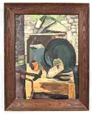 BEN SHAHN Still Life Painting. Table with Tools against