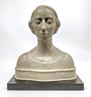 Modernist Contemporary Portrait Bust. Female with Hair