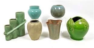 6pc MCM Glazed Pottery Vases. Includes CAMARK, GLIDDEN,