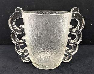 French style Frosted Crystal Handled Vase. Graduating L