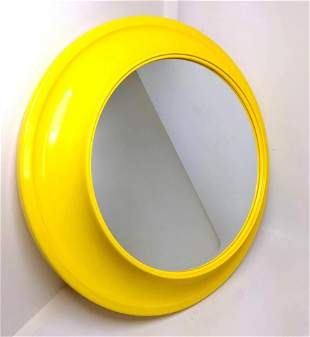 Yellow Plastic Wall Mirror. Deep frame.