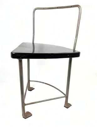 Contemporary Three Iron Leg Stool. Black Lacquered tria
