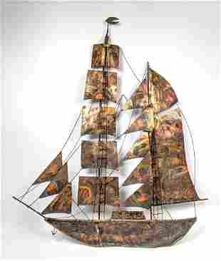 Copper and Mixed Metals Sailing Ship Wall Sculpture.