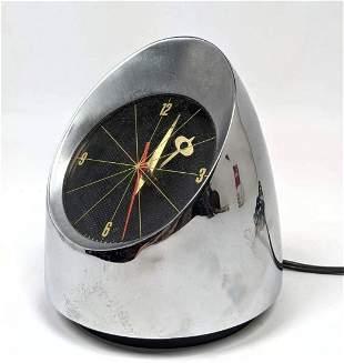 Modernist JEFFERSON 500 Desk Table Clock. Chrome Bullet