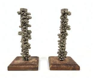 Pr Metal Modernist Sculptures. Mounted on wood bases.