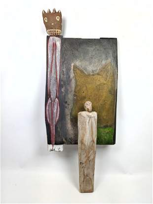 Mixed Media Wall Sculpture. Wood Panel with Clay figura