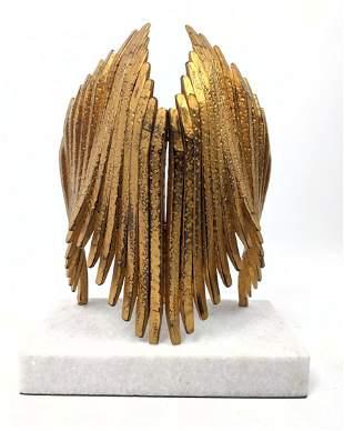 "Modernist Welded Metal ""Wings"" Sculpture. White Marble"