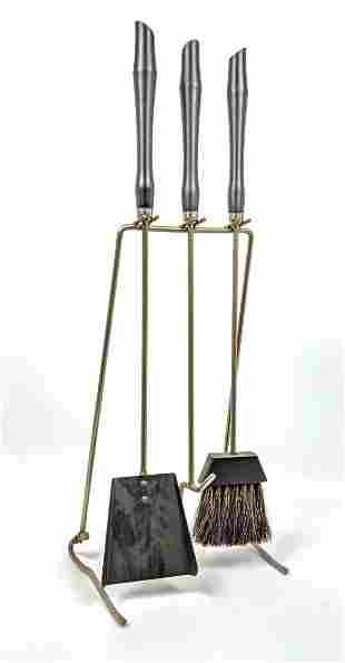 Modernist Fireplace Tool Set. Metal Rod Frame stand sup