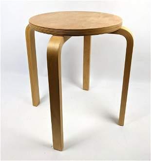 Alvar Allto style laminated stool. Single stool; part o