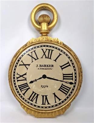 J BARKER Pocket Watch Sign. Gilt Wood Faux Watch.