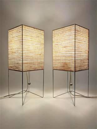 Pr Metal Rod Frame Modernist Table Lamps. Contemporary.