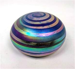 Signed Art Glass Paperweight. Striped Banded Paperweigh