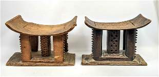 2pcs Primitive Tribal Carved Wood Benches Stools.