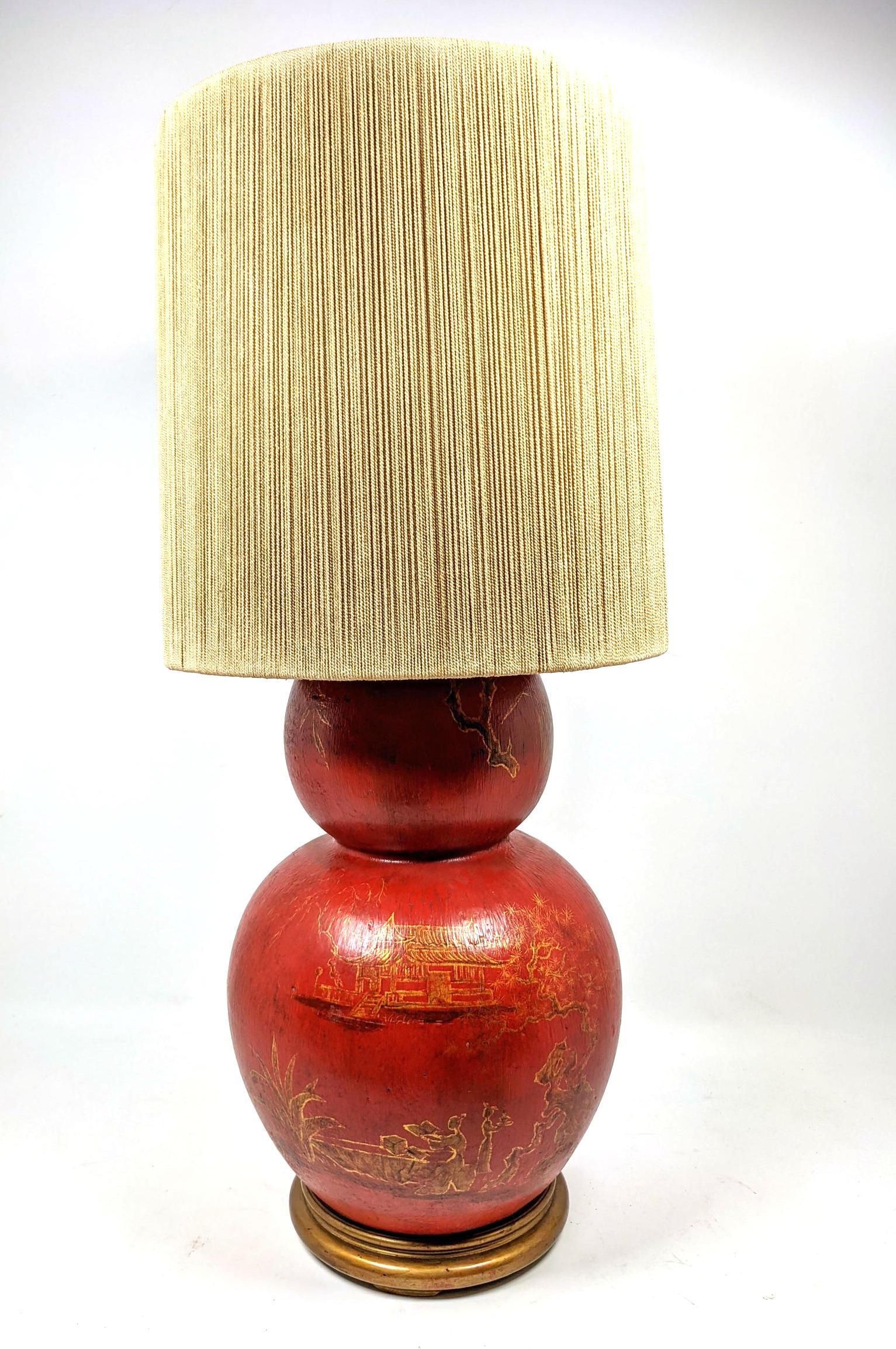Mid Century Modern Asian Form Pottery Table Lamp. Asia