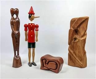 4pc Modernist Wood Lot. Modernist carved sculpture. C