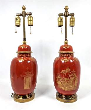 Pair Asian form Table Lamps. Ginger jars with gold deco