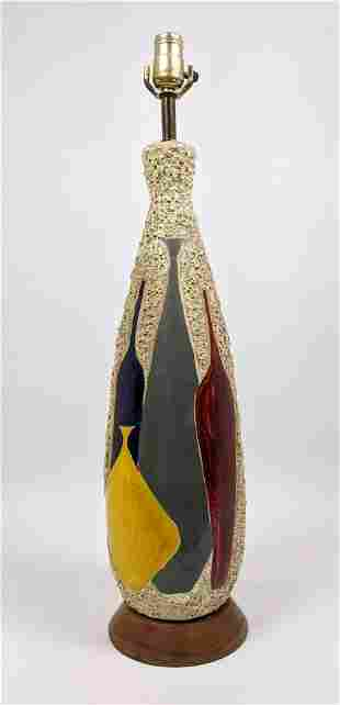 Modernist Volcanic Glaze Pottery Table Lamp. Tall form