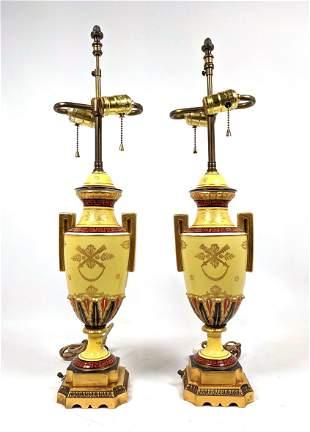 Pr Decorative Regency style Table Lamps. Porcelain Urn