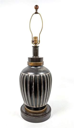 Glazed Pottery Table Lamp. Modernist Design with verti