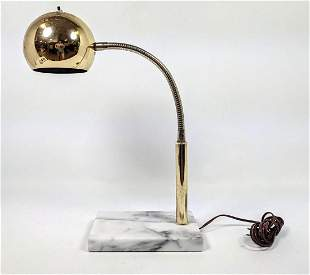 Gold Tone Ball Shade Marble Base Table Desk Lamp. Mode
