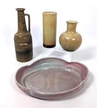 4pcs Modernist Glazed Pottery. Platter. Pitcher. KERAMI