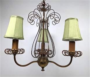 Hanging Light Chandelier. Three arm metal chandelier wi