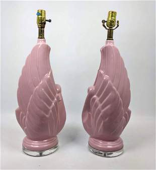 Pr Pink glazed table lamps. Wing form.