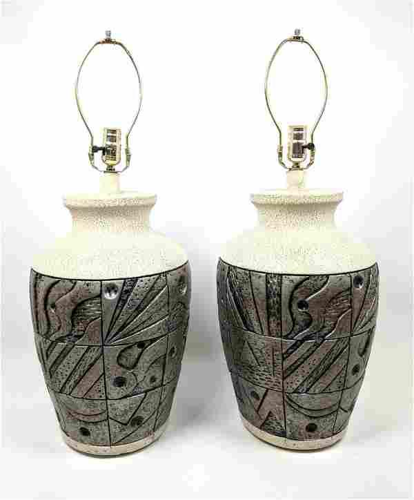 Pr Decorative Plaster Sculpture Table Lamps. Silvered A