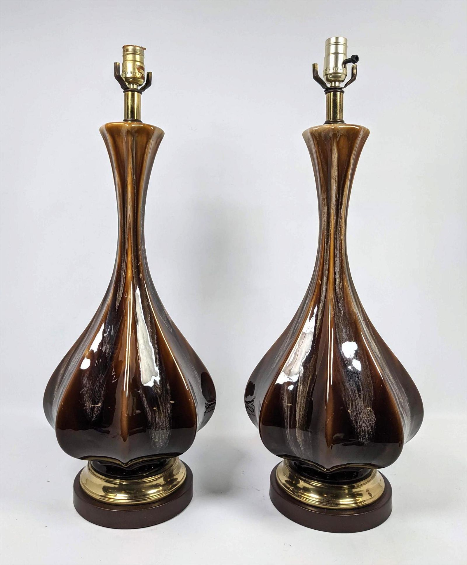 Pr Modernist Glazed Pottery Table Lamps. Brown