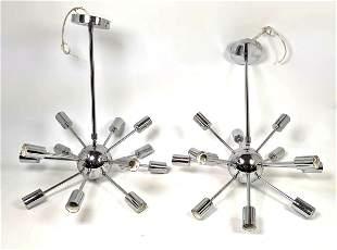2 Chrome Sputnik Chandelier Lamps.