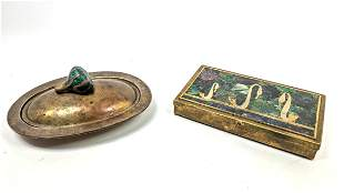 2pc Inlaid Bronze Modernist Lot. Lidded box with swans.