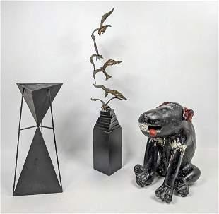 3pc modern shelf lot. figural dog. Triangle sculpture.