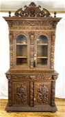 2pc Black Forest Carved China Cabinet.