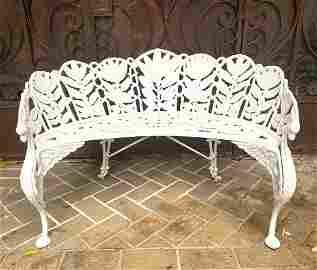Garden settee bench white cast-iron. Laurel pattern.