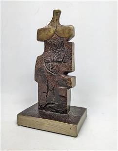 JIM BASS 3/7 Signed Abstract Cubist Bronze Sculpture.