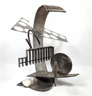 Heavy Industrial Steel Sculpture. Abstract Modern. wel