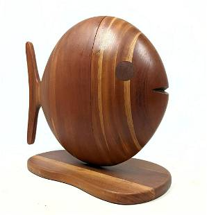 GENE SHERER 1984 Artisan Woodworker Fish Jewelry Box. F