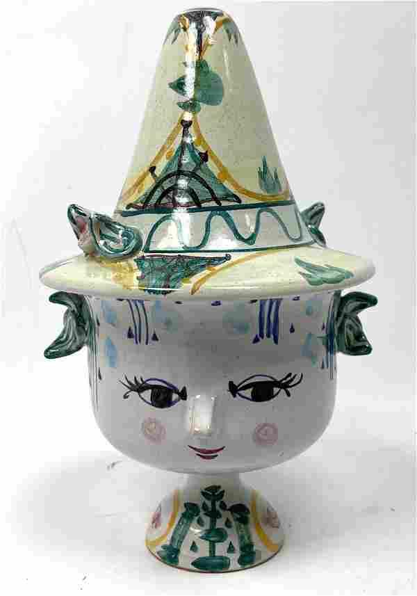 BJORN WIINBLAD Figural Lidded Pottery Jar. Cute pixie f