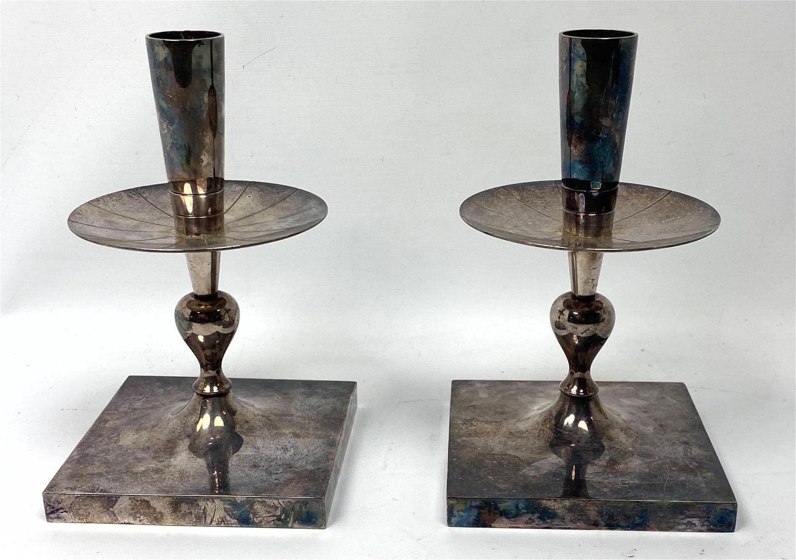 Pr HEIRLOOM Silver Plate Candlesticks. TOMMI PARZINGER
