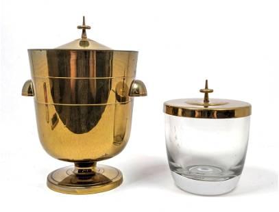 TOMMI PARZINGER Brass Ice Bucket. One Glass. One Brass.