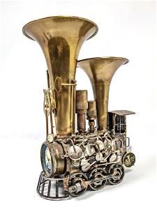 SONNY DALTON Found Object Train Sculpture. Musical inst
