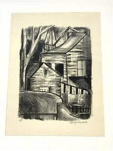 LUDWIG SANDER 33 Landscape Lithograph Print. Rural Scen