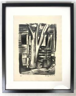 LUDWIG SANDER Signed Lithograph Print. Central Bare tre
