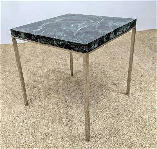 Green Veined Marble Square Top Chrome Frame Side Table.