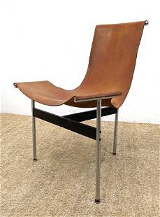 """LAVERNE KATAVOLOS """"T"""" Side Chair. Brown Leather Sling"""