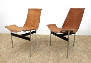 """Pair LAVERNE KATAVOLOS """"T"""" Side Chair. Brown Leather S"""